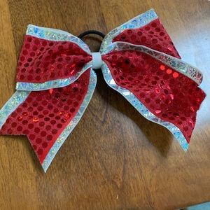 Accessories - Red & Silver Cheer/Dance Bow